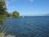 Vue vers l'île de la Harpe, accessible uniquement en bateau. Celle-ci a été erigée sur les vestiges de l'anicenne cité lacustre vers 1835, dans le but de protéger le port. Au milieu de l'île fut dressée une obélisque à la mémoire de Frédéric-César de LA H
